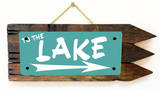 To The Lake Teal Wood Sign