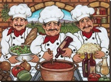 3 Happy Chefs Reproduction sur toile tendue par Janet Kruskamp