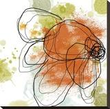 Orange Liquid Flower Stretched Canvas Print by Jan Weiss