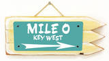 Mile 0 Key West Teal Wood Sign