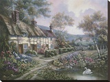 Welford Country Cottage Stretched Canvas Print by Carl Valente
