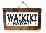 Waikiki Hawaii Vintage Wood Sign
