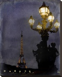 Eiffel at Night Stretched Canvas Print by Karen J. Williams