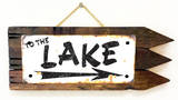 To The Lake Rusted Wood Sign