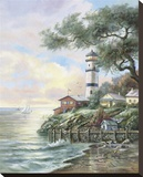 Beacon Light Bay Stretched Canvas Print by Carl Valente