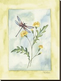 Dragonfly With Yellow Flowers Reproduction transférée sur toile par Paige Houghton