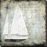 Sailboat Map II Stretched Canvas Print by Karen J. Williams