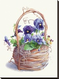 Grapevine Pansy Basket Stretched Canvas Print by Mary Kay Krell