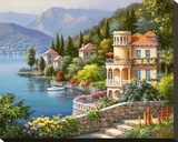 Lakeside Villa Stretched Canvas Print by Sung Kim