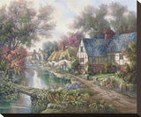 Chelsworth Village Stretched Canvas Print by Carl Valente