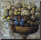 Grey Flowers Stretched Canvas Print by Jennifer Lanne