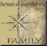 Travels Lead Back to Family Stretched Canvas Print by Karen J. Williams