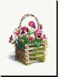 Log Cabin Pansy Basket Stretched Canvas Print by Mary Kay Krell