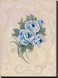 Roses Azure Stretched Canvas Print by Peggy Abrams