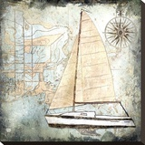 Sailboat Map IV Stretched Canvas Print by Karen J. Williams