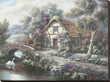 Ashdon Cottage, Essex Stretched Canvas Print by Carl Valente
