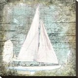 Sailboat Map III Stretched Canvas Print by Karen J. Williams