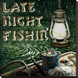 Late Night Fishing Stretched Canvas Print by Janet Kruskamp