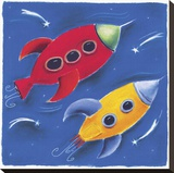 Two Rockets Blast Off Reproduction transférée sur toile par Dona Turner