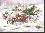Santas 1909 Ford Stretched Canvas Print by Peggy Abrams