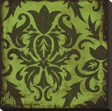 Verde Damask Stretched Canvas Print by Suzanna Anna