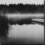 Misty Dock, Salt Spring Island Stretched Canvas Print by Reid Yalom