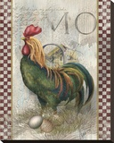 Green Pastures Rooster Stretched Canvas Print by Alma Lee