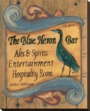 The Blue Heron Bar Stretched Canvas Print by Grace Pullen