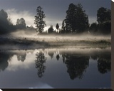Lake Matheson at Dawn Stretched Canvas Print by Sheila Smart