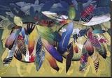 Valiance - Feathered Shields Stretched Canvas Print by David Manje