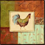 Patchwork Rooster IV Stretched Canvas Print by Jennifer Sosik