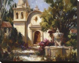 Mission Fountain Stretched Canvas Print by Betty Carr
