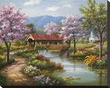 Covered Bridge in Spring Stretched Canvas Print by Sung Kim