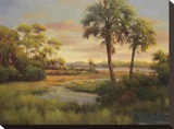 River Cove With Palms I Stretched Canvas Print by R Rutley