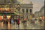 Vintage Parisian Street Scene Stretched Canvas Print