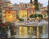 Dusk Reflections Lake Como Stretched Canvas Print by Erin Dertner
