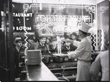 A cook preparing spaghetti, Broadway, New York City, 1937 Lærredstryk på blindramme