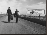 Men carrying suitcases to Los Angeles, 1937 (detail) Stretched Canvas Print by Dorothea Lange