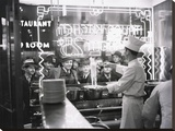 A cook preparing spaghetti, Broadway, New York City, 1937 Stretched Canvas Print