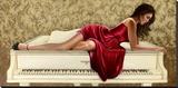 Woman in red Leinwand von John Silver