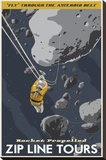 Zip Line Through the Asteroid Belt Stretched Canvas Print by Steve Thomas