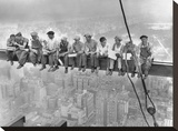 New York Construction Workers Lunching on a Crossbeam, 1932 Reproducción en lienzo de la lámina por Charles C. Ebbets