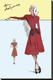 Casual Dress in Red, 1947 Stretched Canvas Print