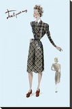 Casual Plaid Dress, 1947 Stretched Canvas Print