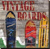 Vintage Snow Boards Stretched Canvas Print by Karen J. Williams