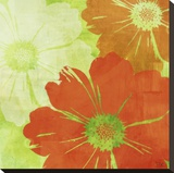 Tangerine, Green and Ivory I Stretched Canvas Print by Kay Daichi