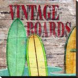 Vintage Surf Boards Stretched Canvas Print by Karen J. Williams