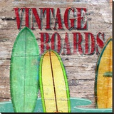 Vintage Surf Boards Stretched Canvas Print by Karen J. Williams