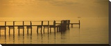 Pier With Orange Sky Stretched Canvas Print by Ruth Burke