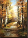 Birch Walk with Verse Stretched Canvas Print by  Arcobaleno